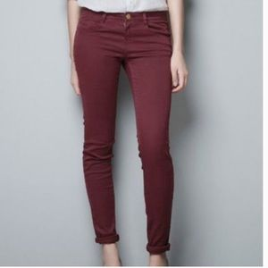 Zara• Burgundy Skinny Jeans